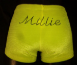 Neon yellow velour personalised shorts (3)